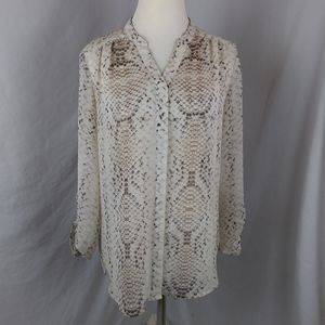 Violet + Claire Snake skin button blouse shirt top